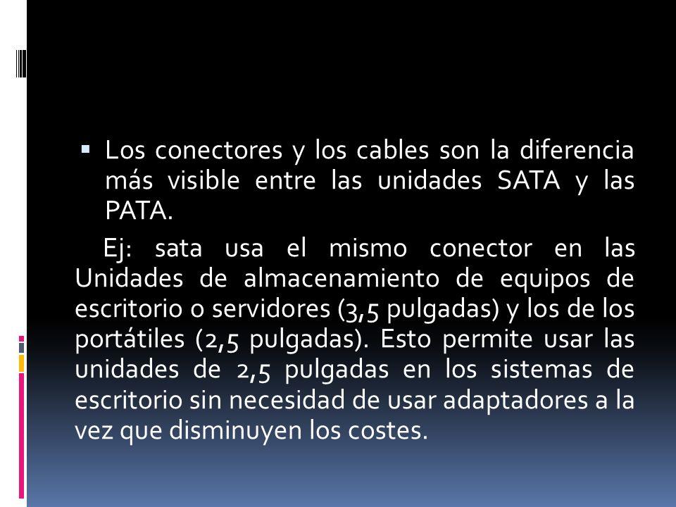 Los conectores y los cables son la diferencia más visible entre las unidades SATA y las PATA.