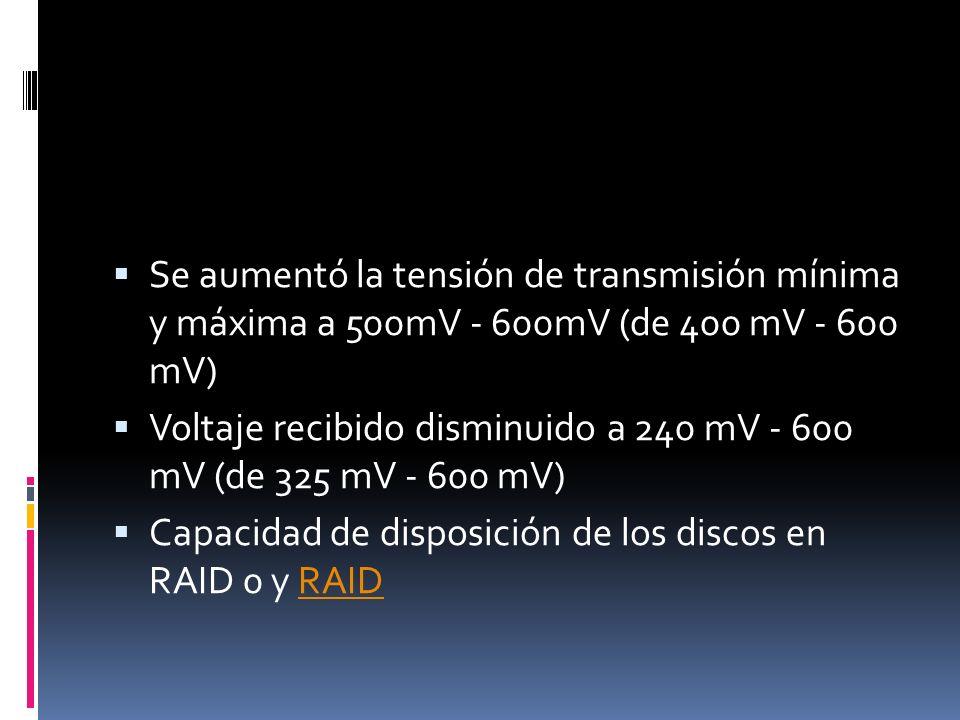 Se aumentó la tensión de transmisión mínima y máxima a 500mV - 600mV (de 400 mV - 600 mV) Voltaje recibido disminuido a 240 mV - 600 mV (de 325 mV - 600 mV) Capacidad de disposición de los discos en RAID 0 y RAIDRAID