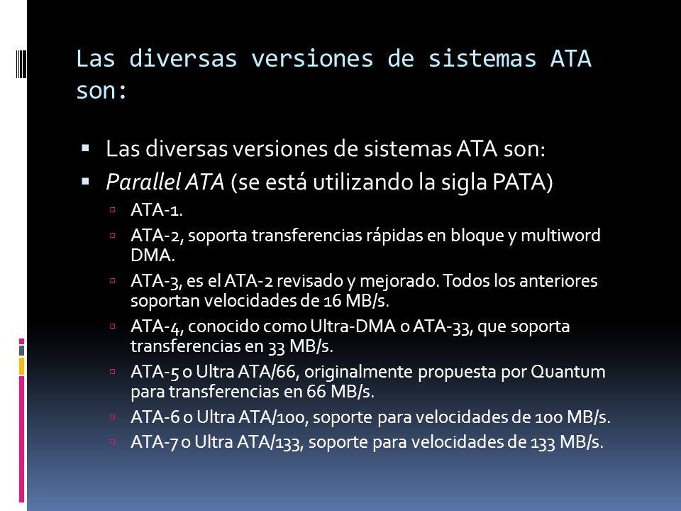 Las diversas versiones de sistemas ATA son: Parallel ATA (se está utilizando la sigla PATA) ATA-1.