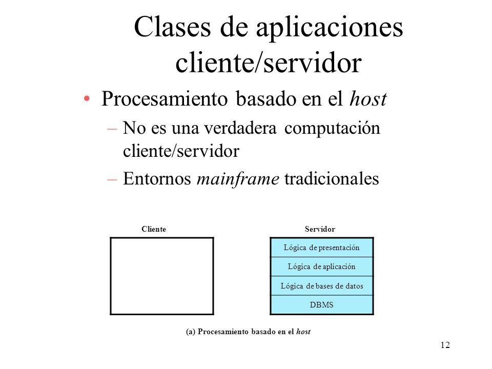 12 Clases de aplicaciones cliente/servidor Procesamiento basado en el host –No es una verdadera computación cliente/servidor –Entornos mainframe tradi
