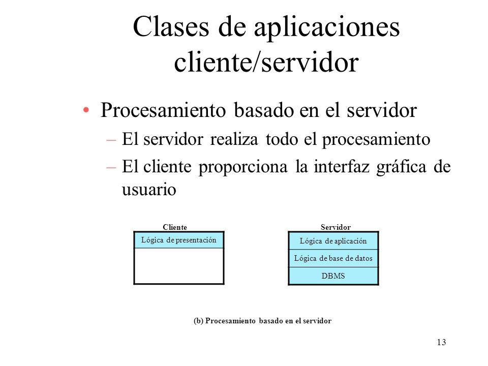 13 Clases de aplicaciones cliente/servidor Procesamiento basado en el servidor –El servidor realiza todo el procesamiento –El cliente proporciona la i