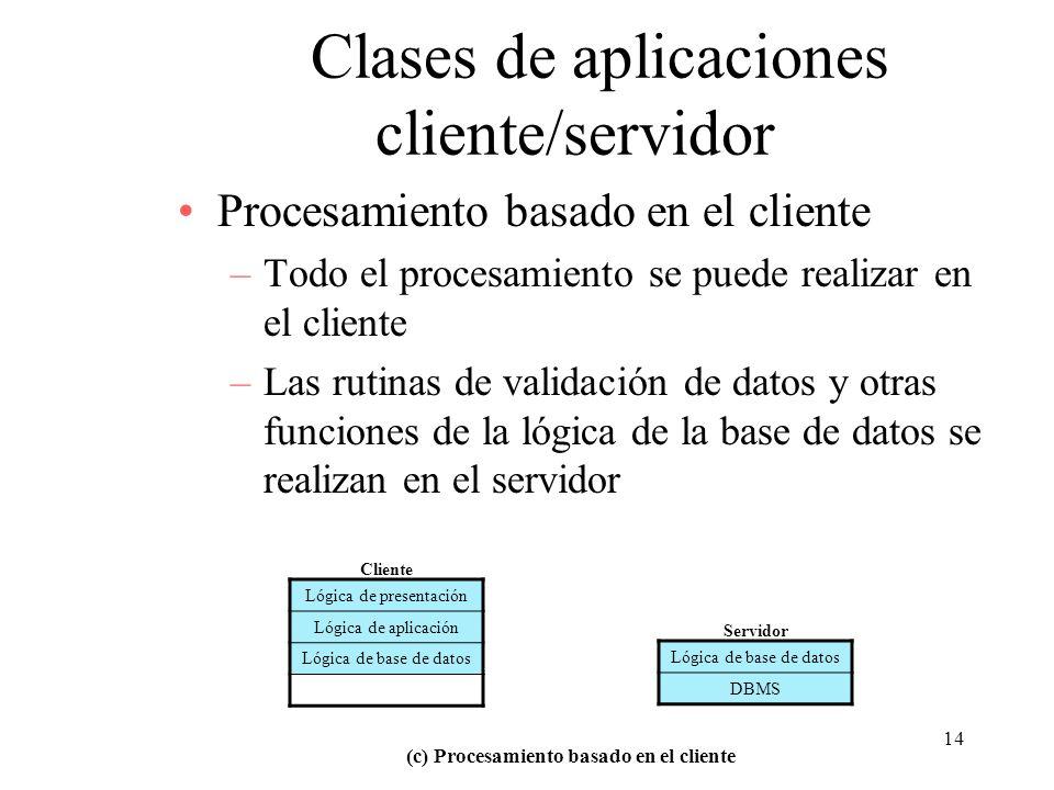 14 Clases de aplicaciones cliente/servidor Procesamiento basado en el cliente –Todo el procesamiento se puede realizar en el cliente –Las rutinas de v