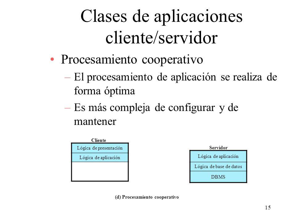 15 Clases de aplicaciones cliente/servidor Procesamiento cooperativo –El procesamiento de aplicación se realiza de forma óptima –Es más compleja de co