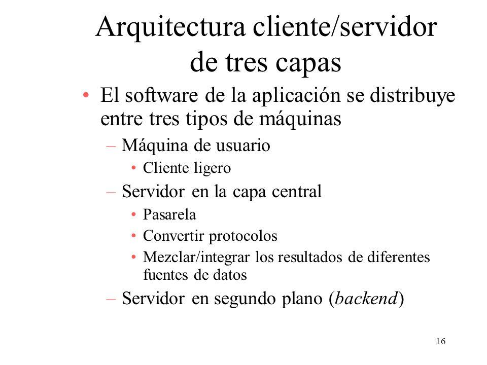 16 Arquitectura cliente/servidor de tres capas El software de la aplicación se distribuye entre tres tipos de máquinas –Máquina de usuario Cliente lig