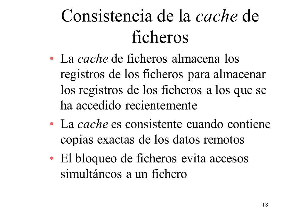 18 Consistencia de la cache de ficheros La cache de ficheros almacena los registros de los ficheros para almacenar los registros de los ficheros a los