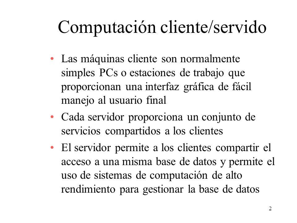 13 Clases de aplicaciones cliente/servidor Procesamiento basado en el servidor –El servidor realiza todo el procesamiento –El cliente proporciona la interfaz gráfica de usuario Lógica de presentación Lógica de aplicación Lógica de base de datos DBMS (b) Procesamiento basado en el servidor ClienteServidor