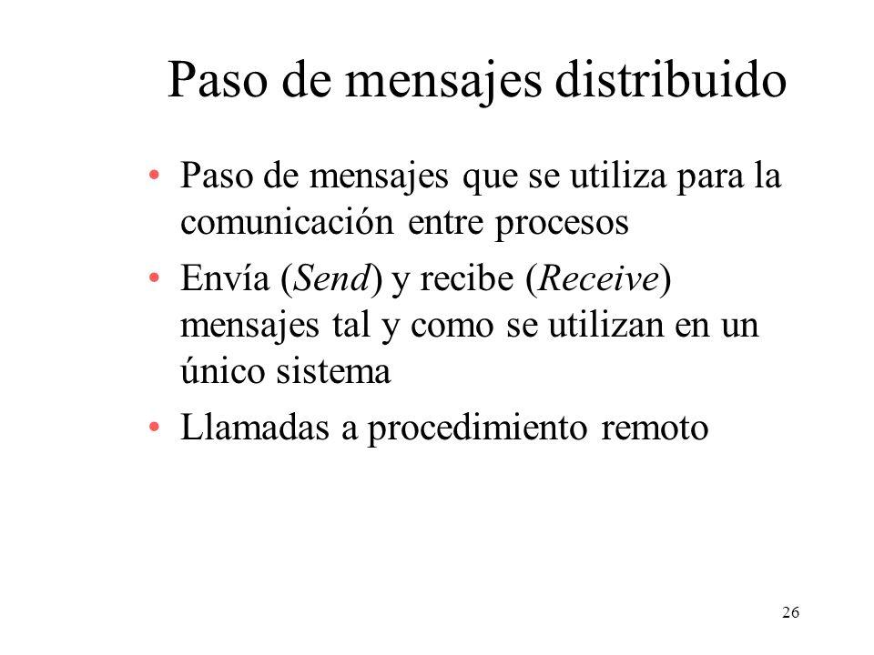 26 Paso de mensajes distribuido Paso de mensajes que se utiliza para la comunicación entre procesos Envía (Send) y recibe (Receive) mensajes tal y com