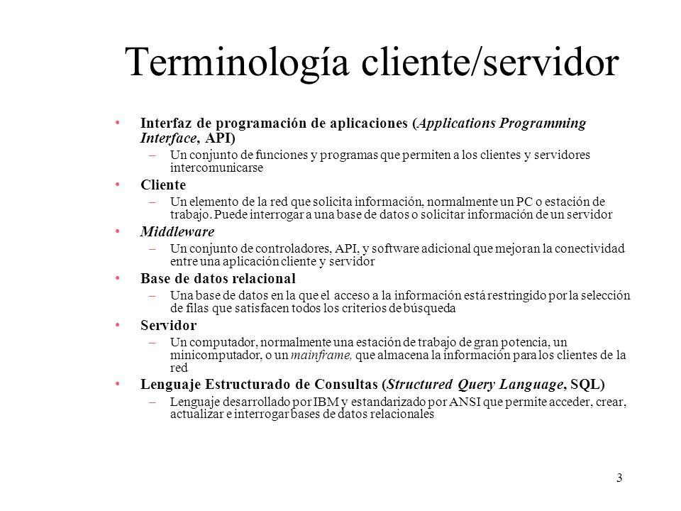 14 Clases de aplicaciones cliente/servidor Procesamiento basado en el cliente –Todo el procesamiento se puede realizar en el cliente –Las rutinas de validación de datos y otras funciones de la lógica de la base de datos se realizan en el servidor Lógica de presentación Lógica de aplicación Lógica de base de datos DBMS Cliente Servidor (c) Procesamiento basado en el cliente