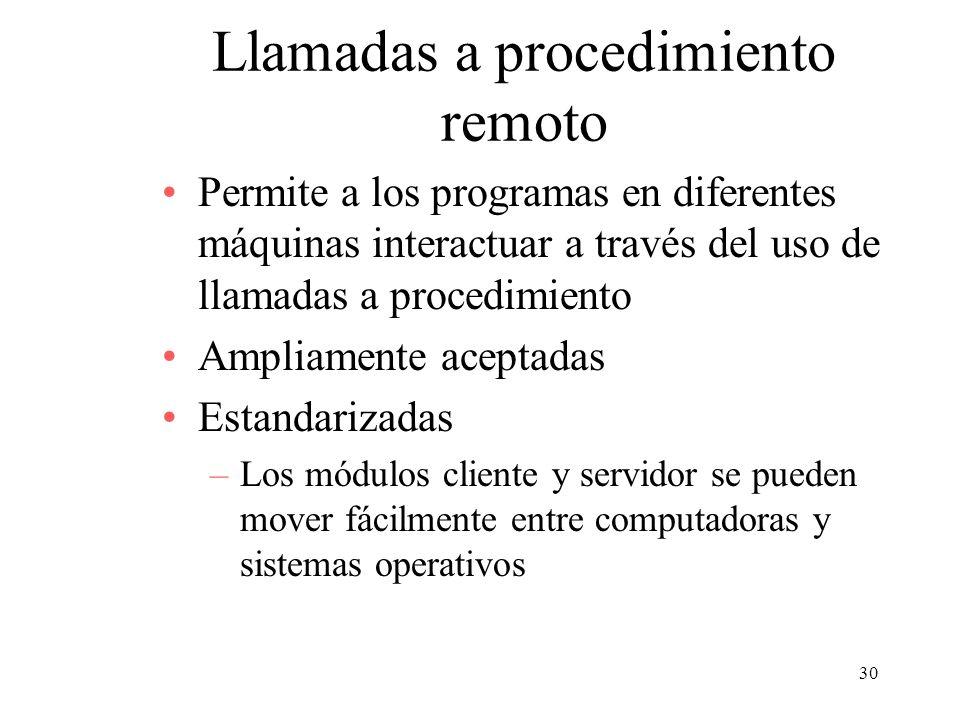 30 Llamadas a procedimiento remoto Permite a los programas en diferentes máquinas interactuar a través del uso de llamadas a procedimiento Ampliamente