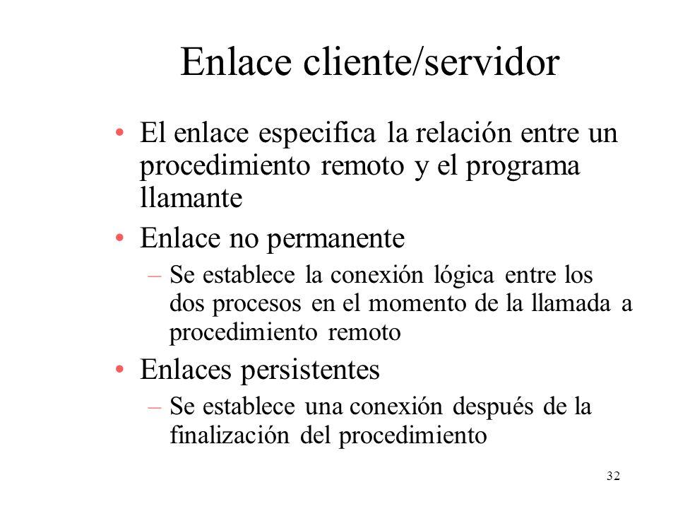 32 Enlace cliente/servidor El enlace especifica la relación entre un procedimiento remoto y el programa llamante Enlace no permanente –Se establece la
