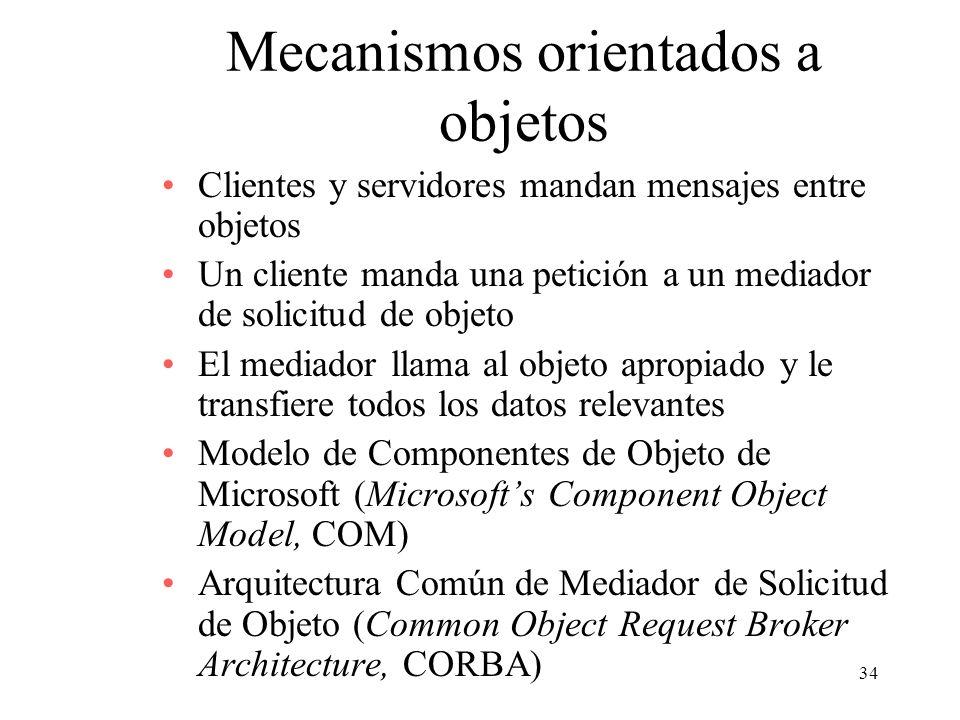34 Mecanismos orientados a objetos Clientes y servidores mandan mensajes entre objetos Un cliente manda una petición a un mediador de solicitud de obj