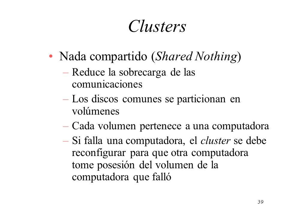39 Clusters Nada compartido (Shared Nothing) –Reduce la sobrecarga de las comunicaciones –Los discos comunes se particionan en volúmenes –Cada volumen