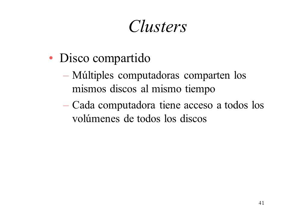 41 Clusters Disco compartido –Múltiples computadoras comparten los mismos discos al mismo tiempo –Cada computadora tiene acceso a todos los volúmenes