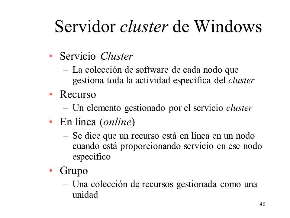 48 Servidor cluster de Windows Servicio Cluster –La colección de software de cada nodo que gestiona toda la actividad específica del cluster Recurso –