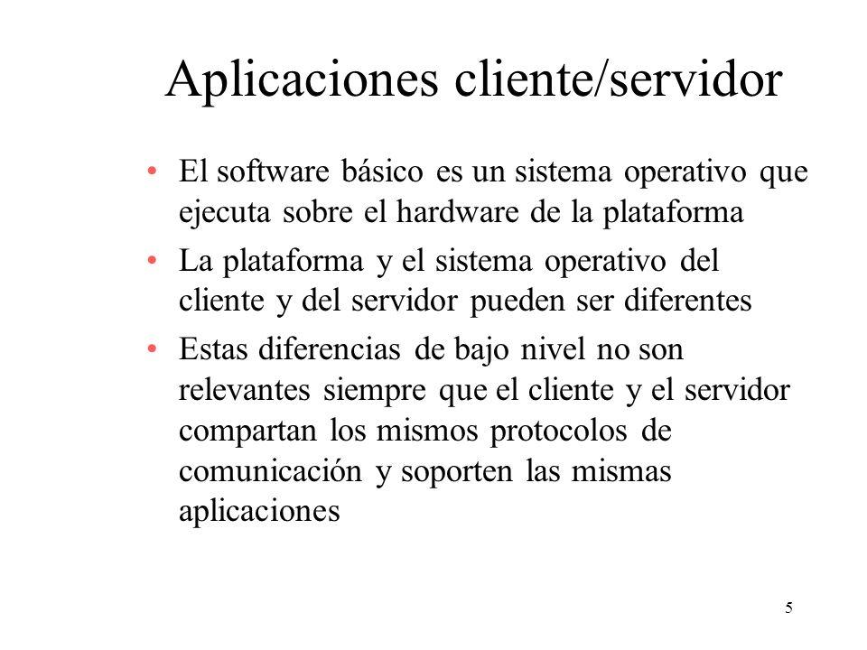 5 Aplicaciones cliente/servidor El software básico es un sistema operativo que ejecuta sobre el hardware de la plataforma La plataforma y el sistema o