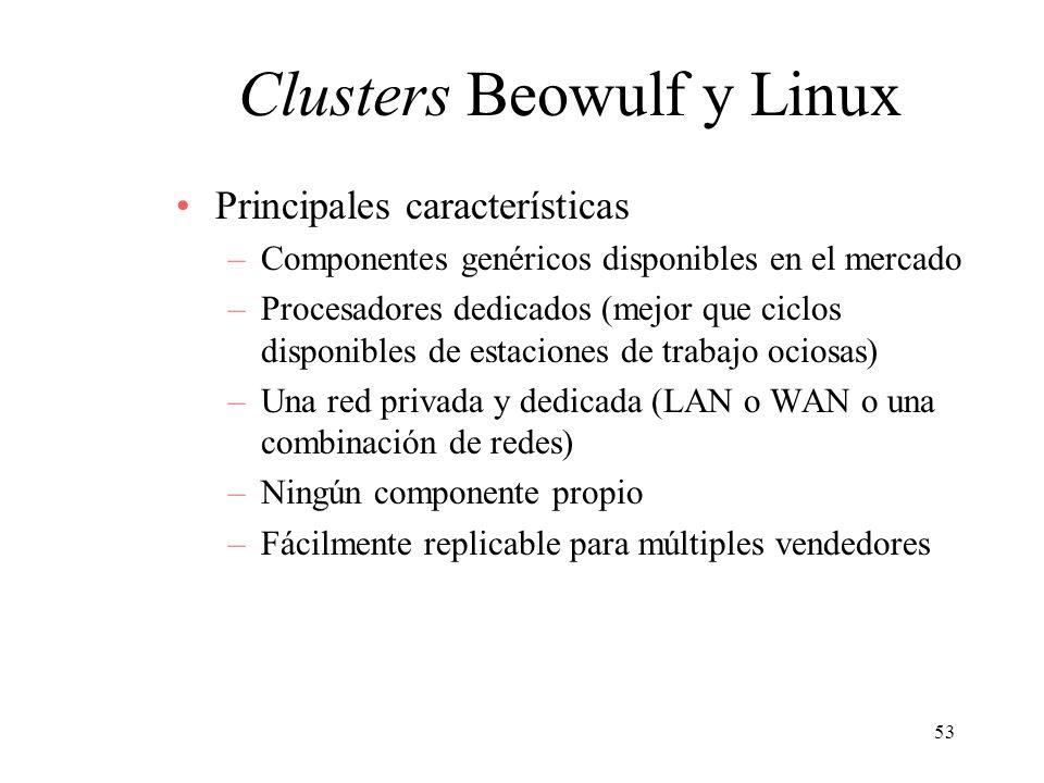 53 Clusters Beowulf y Linux Principales características –Componentes genéricos disponibles en el mercado –Procesadores dedicados (mejor que ciclos dis