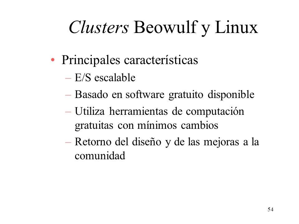 54 Clusters Beowulf y Linux Principales características –E/S escalable –Basado en software gratuito disponible –Utiliza herramientas de computación gr