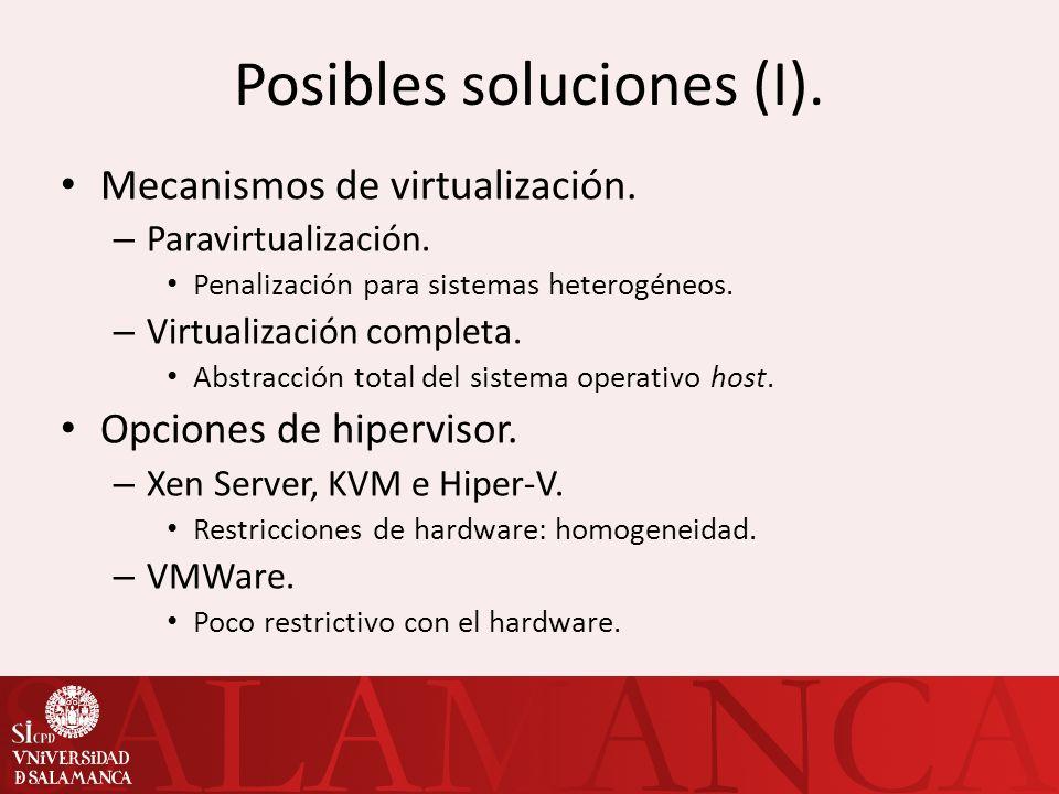 Posibles soluciones (y II).Opción de VMWare ESXi.