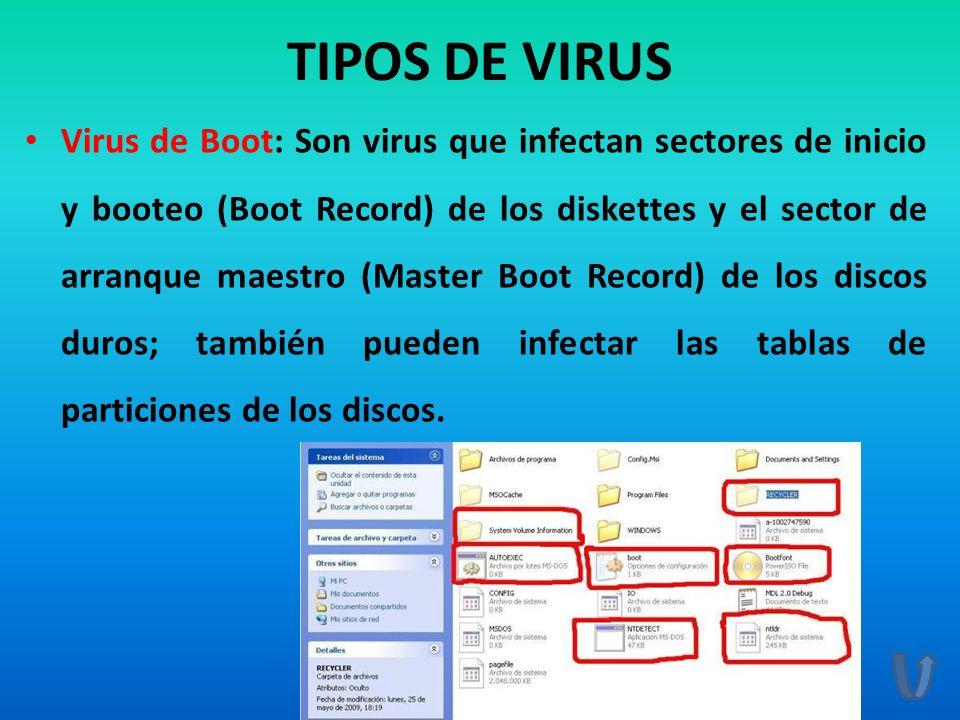 TIPOS DE VIRUS Virus de Boot: Son virus que infectan sectores de inicio y booteo (Boot Record) de los diskettes y el sector de arranque maestro (Maste