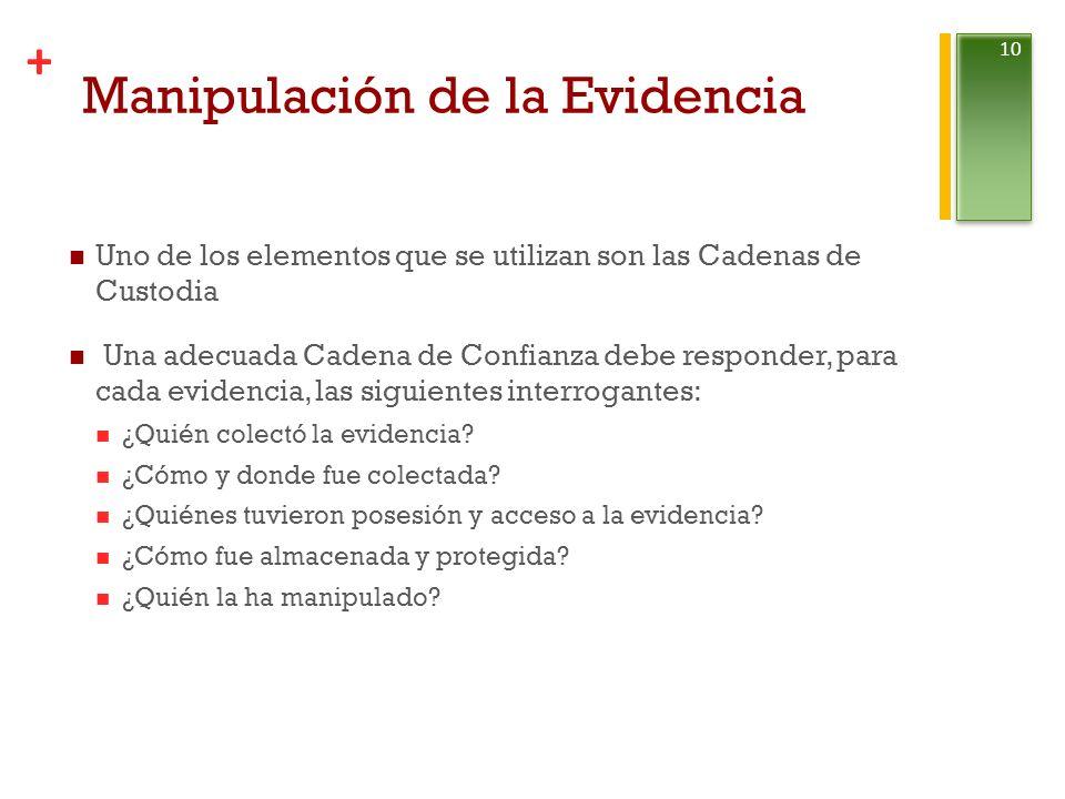 + Manipulación de la Evidencia Uno de los elementos que se utilizan son las Cadenas de Custodia Una adecuada Cadena de Confianza debe responder, para cada evidencia, las siguientes interrogantes: ¿Quién colectó la evidencia.
