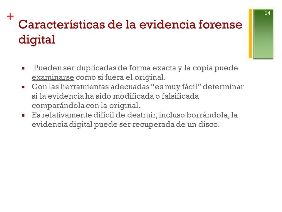 + Características de la evidencia forense digital Pueden ser duplicadas de forma exacta y la copia puede examinarse como si fuera el original.