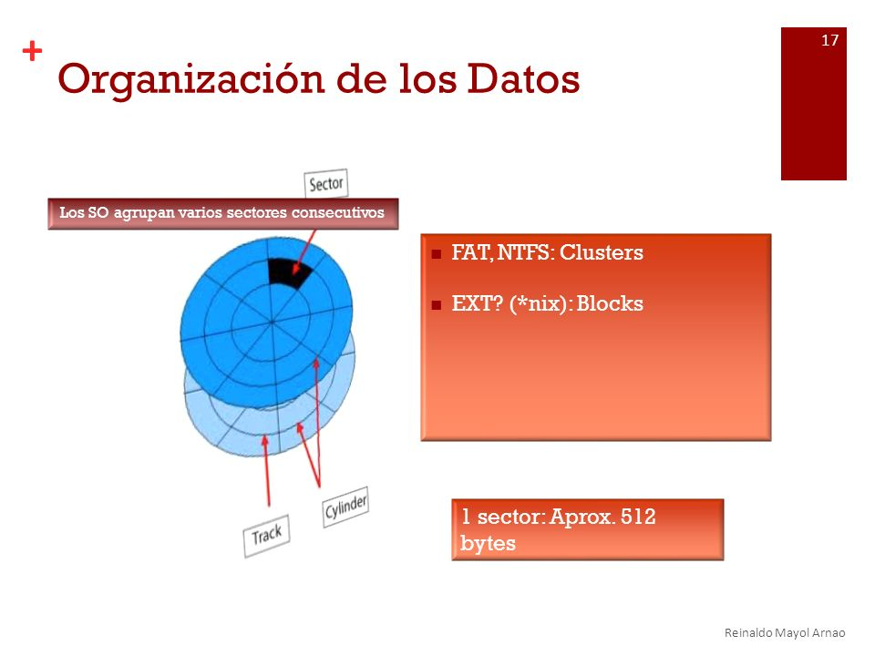 + Organización de los Datos FAT, NTFS: Clusters EXT.