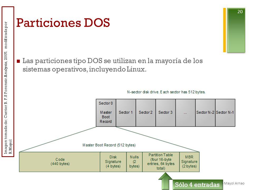 + Particiones DOS Las particiones tipo DOS se utilizan en la mayoría de los sistemas operativos, incluyendo Linux.