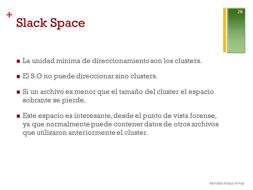 + Slack Space La unidad mínima de direccionamiento son los clusters.