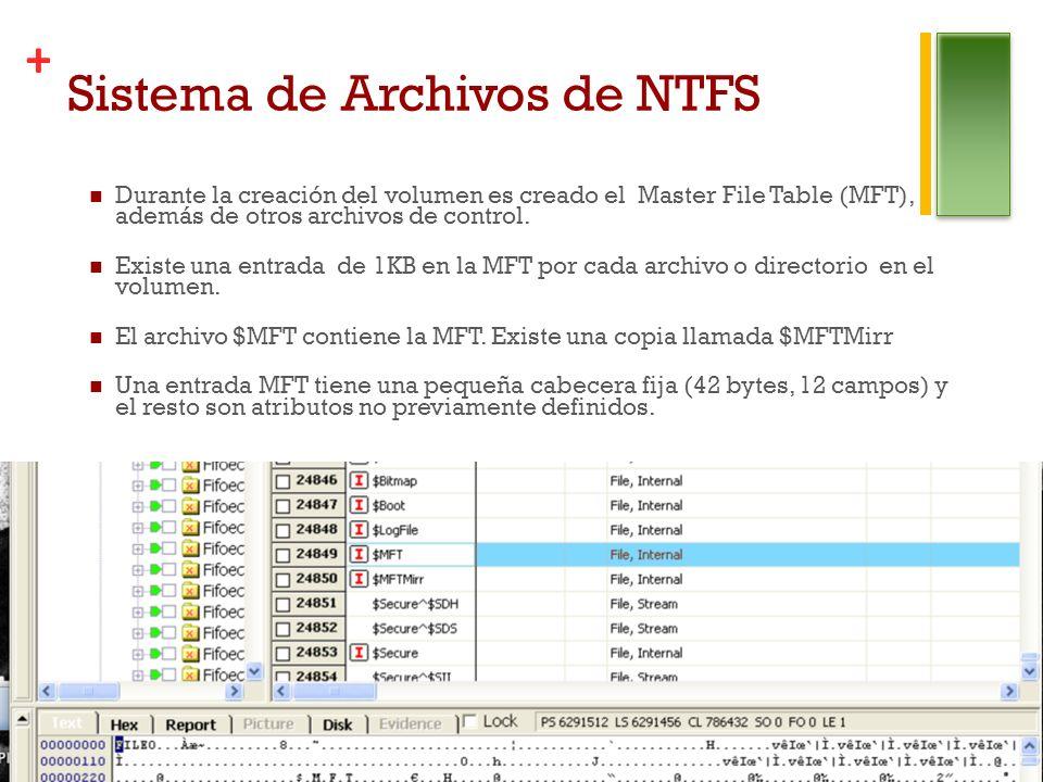 + Sistema de Archivos de NTFS Durante la creación del volumen es creado el Master File Table (MFT), además de otros archivos de control.