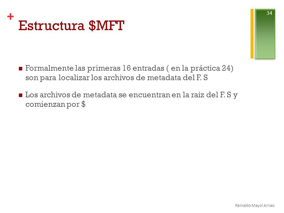 + Estructura $MFT Formalmente las primeras 16 entradas ( en la práctica 24) son para localizar los archivos de metadata del F.