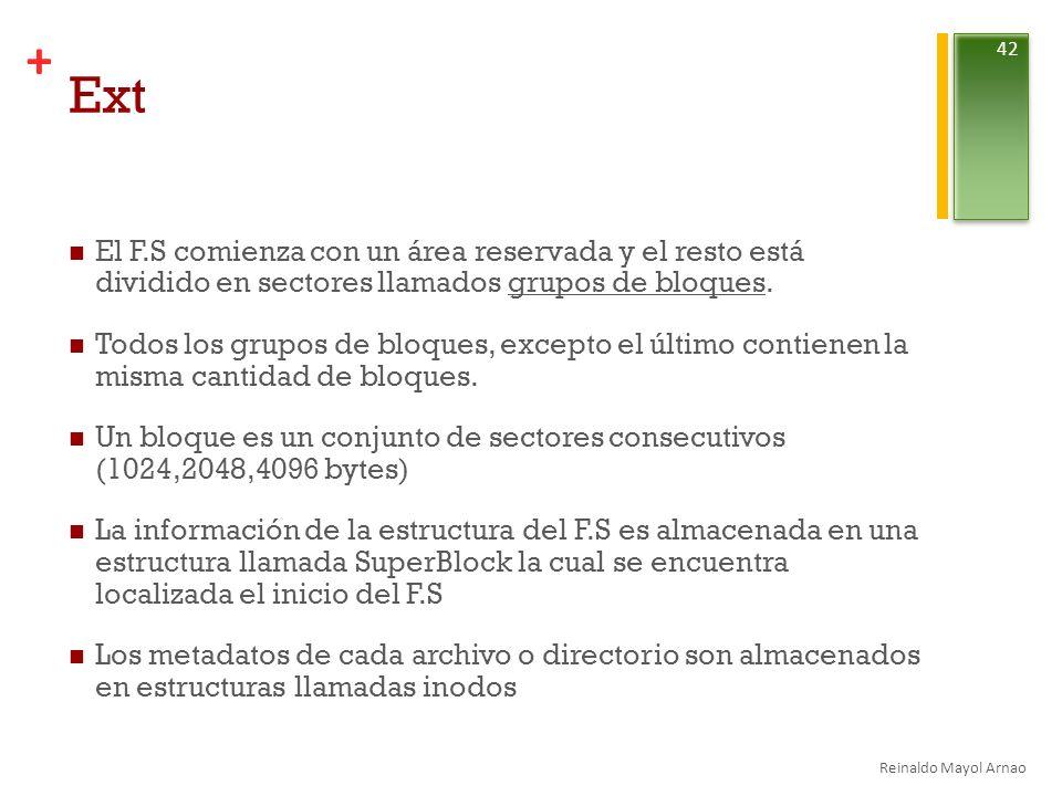 + Ext El F.S comienza con un área reservada y el resto está dividido en sectores llamados grupos de bloques.