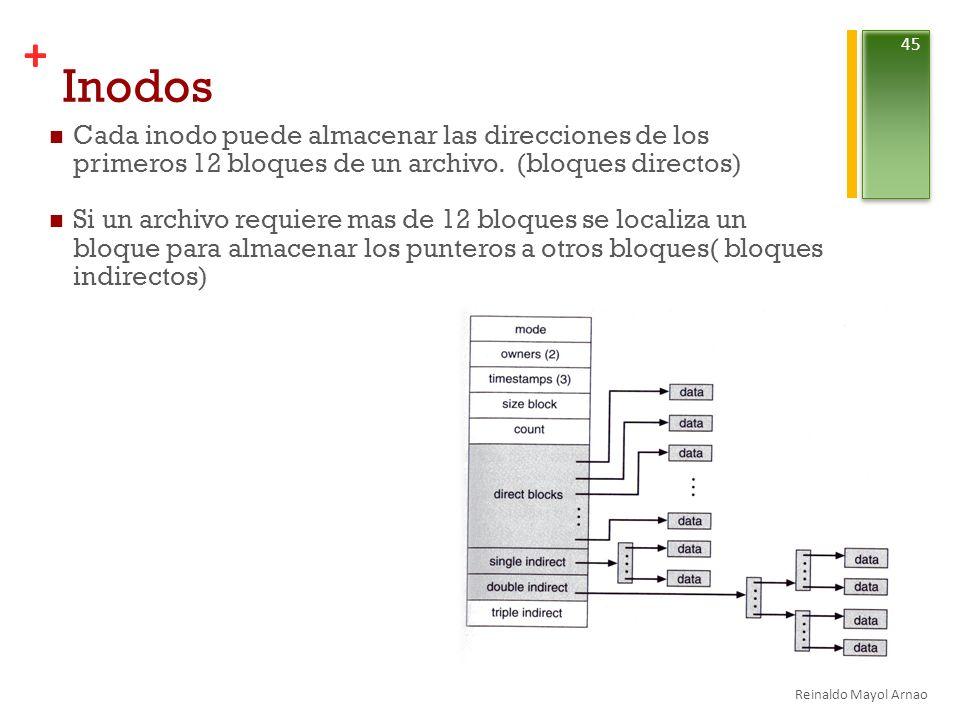 + Inodos Cada inodo puede almacenar las direcciones de los primeros 12 bloques de un archivo.