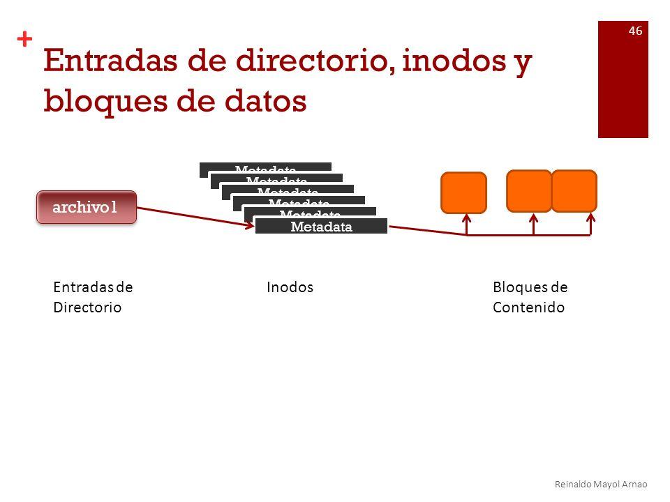 + Entradas de directorio, inodos y bloques de datos Reinaldo Mayol Arnao 46 archivo1 Metadata Entradas de Directorio InodosBloques de Contenido