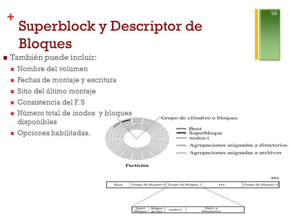 + Superblock y Descriptor de Bloques Reinaldo Mayol Arnao 50 También puede incluir: Nombre del volumen Fechas de montaje y escritura Sitio del último montaje Consistencia del F.