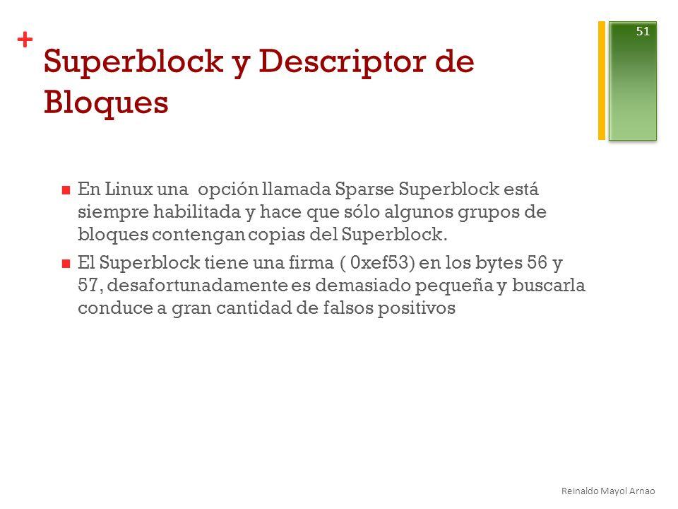 + Superblock y Descriptor de Bloques En Linux una opción llamada Sparse Superblock está siempre habilitada y hace que sólo algunos grupos de bloques contengan copias del Superblock.