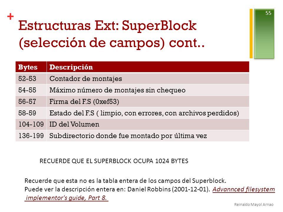+ Estructuras Ext: SuperBlock (selección de campos) cont..