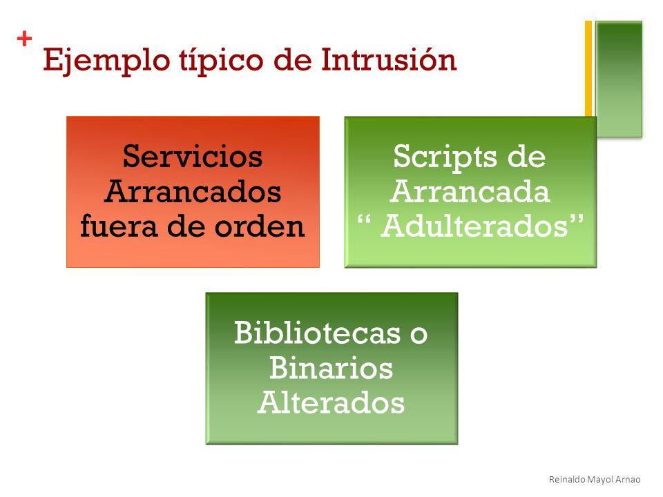 + Ejemplo típico de Intrusión Servicios Arrancados fuera de orden Scripts de Arrancada Adulterados Bibliotecas o Binarios Alterados Reinaldo Mayol Arnao