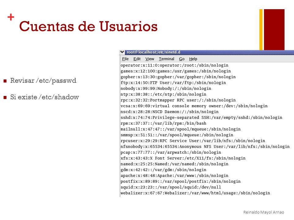 + Cuentas de Usuarios Revisar /etc/passwd Si existe /etc/shadow Reinaldo Mayol Arnao