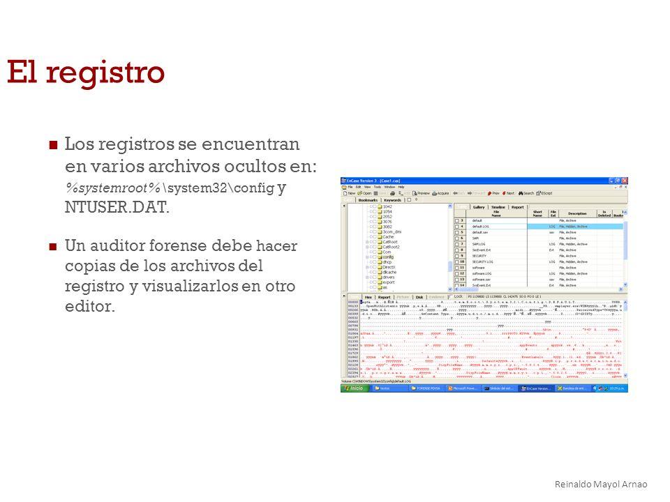 El registro Los registros se encuentran en varios archivos ocultos en: %systemroot%\system32\config y NTUSER.DAT.