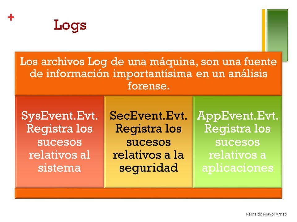 + Logs Los archivos Log de una máquina, son una fuente de información importantísima en un análisis forense.