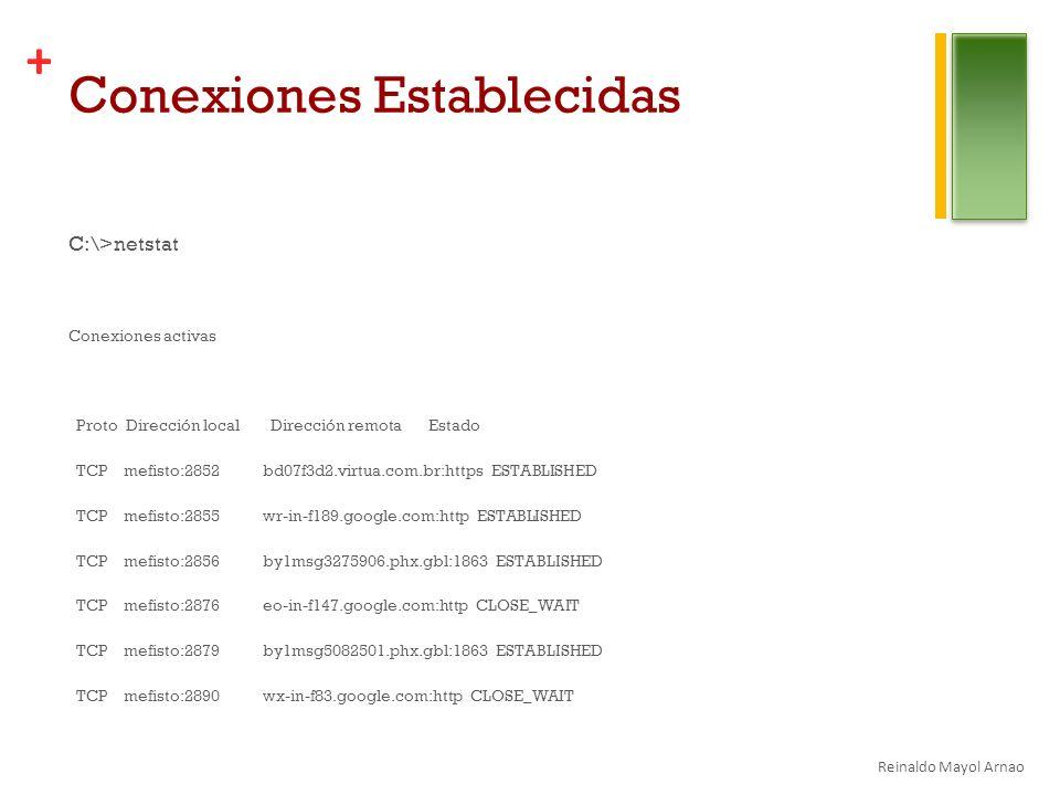 + Conexiones Establecidas C:\>netstat Conexiones activas Proto Dirección local Dirección remota Estado TCP mefisto:2852 bd07f3d2.virtua.com.br:https ESTABLISHED TCP mefisto:2855 wr-in-f189.google.com:http ESTABLISHED TCP mefisto:2856 by1msg3275906.phx.gbl:1863 ESTABLISHED TCP mefisto:2876 eo-in-f147.google.com:http CLOSE_WAIT TCP mefisto:2879 by1msg5082501.phx.gbl:1863 ESTABLISHED TCP mefisto:2890 wx-in-f83.google.com:http CLOSE_WAIT Reinaldo Mayol Arnao