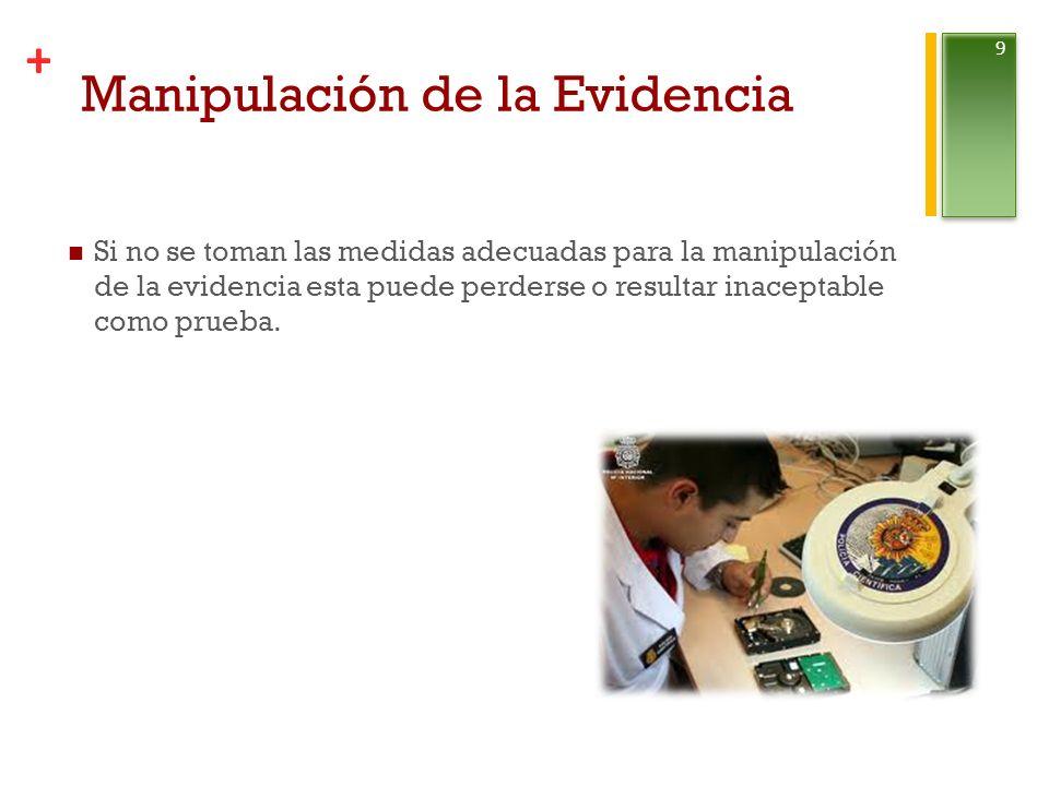+ Manipulación de la Evidencia Si no se toman las medidas adecuadas para la manipulación de la evidencia esta puede perderse o resultar inaceptable como prueba.