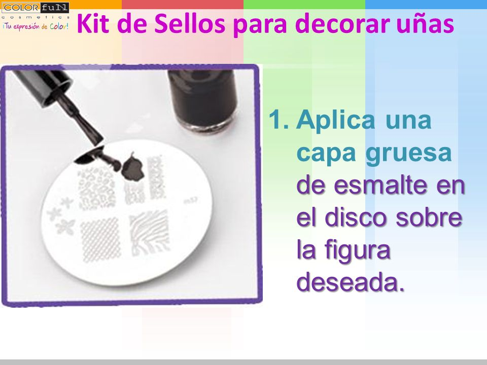 Diviértete combinando en 4 pasos los diferentes Colores y diseños para lucir uñas de Revista con el Kit de Sellos para decorar uñas