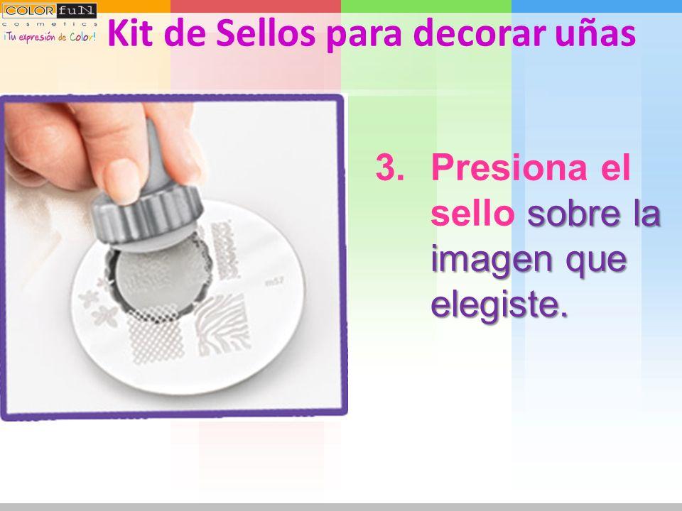 con ayuda de la espátula. 2.Elimina el exceso con ayuda de la espátula. Kit de Sellos para decorar uñas