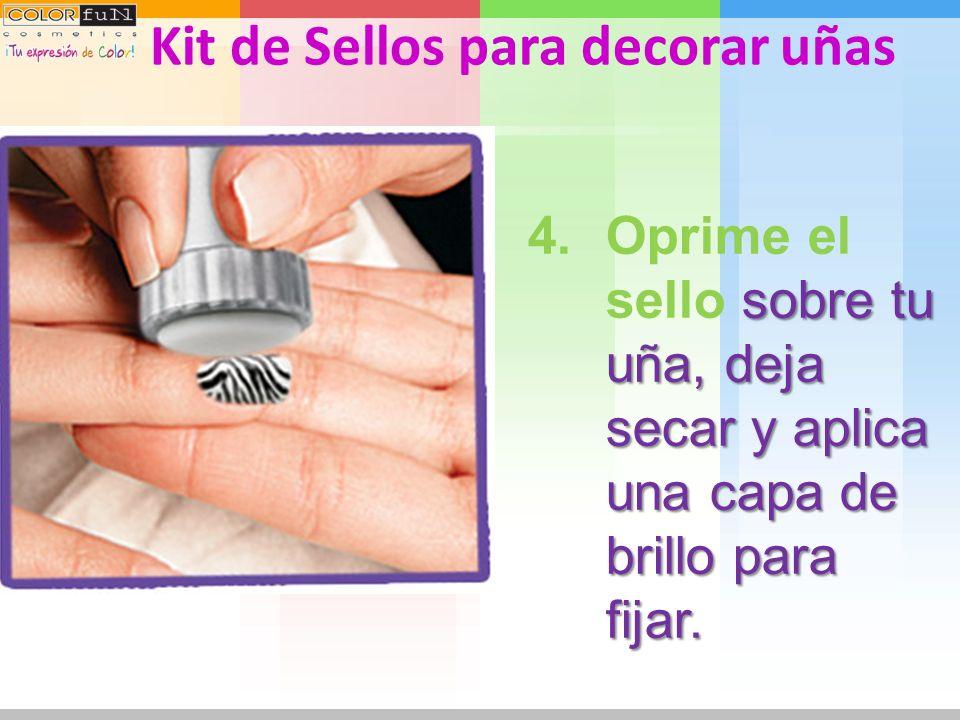 sobre la imagen que elegiste. 3.Presiona el sello sobre la imagen que elegiste. Kit de Sellos para decorar uñas