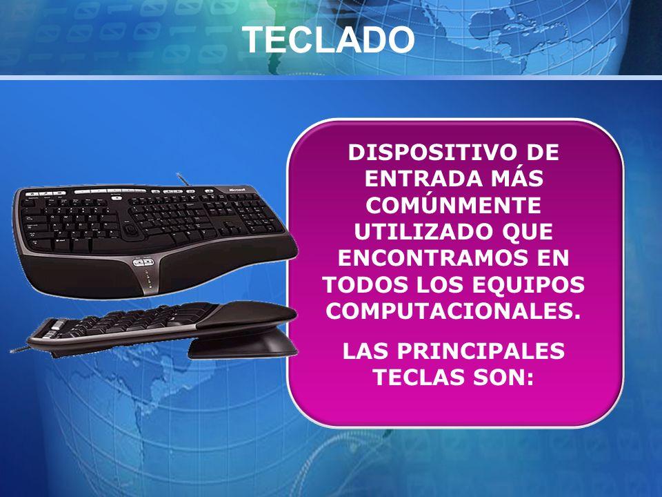 TECLADO DISPOSITIVO DE ENTRADA MÁS COMÚNMENTE UTILIZADO QUE ENCONTRAMOS EN TODOS LOS EQUIPOS COMPUTACIONALES.