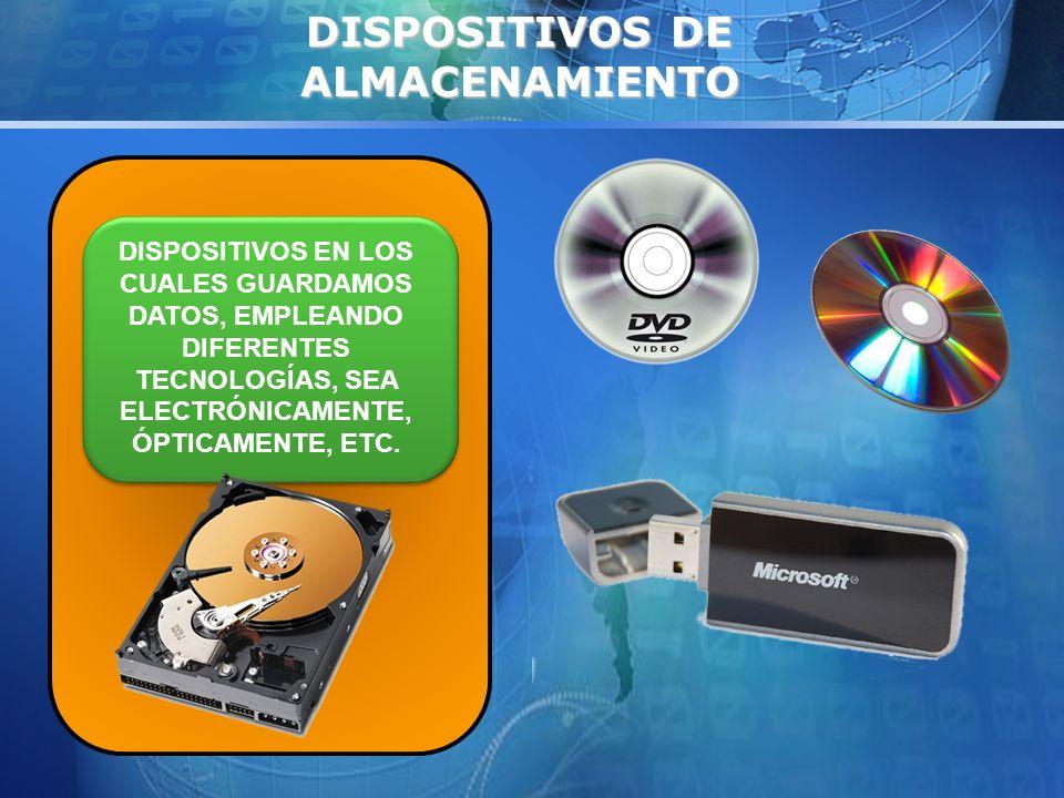 DISPOSITIVOS DE ALMACENAMIENTO DISPOSITIVOS EN LOS CUALES GUARDAMOS DATOS, EMPLEANDO DIFERENTES TECNOLOGÍAS, SEA ELECTRÓNICAMENTE, ÓPTICAMENTE, ETC.