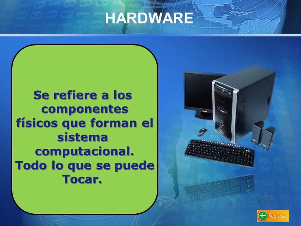 HARDWARE Se refiere a los componentes físicos que forman el físicos que forman elsistemacomputacional.