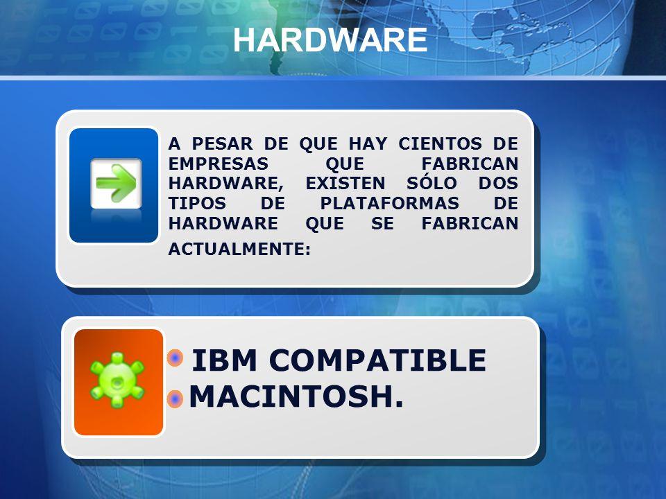 A PESAR DE QUE HAY CIENTOS DE EMPRESAS QUE FABRICAN HARDWARE, EXISTEN SÓLO DOS TIPOS DE PLATAFORMAS DE HARDWARE QUE SE FABRICAN ACTUALMENTE: HARDWARE IBM COMPATIBLE MACINTOSH.