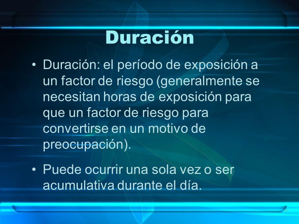 11 Duración Duración: el período de exposición a un factor de riesgo (generalmente se necesitan horas de exposición para que un factor de riesgo para convertirse en un motivo de preocupación).